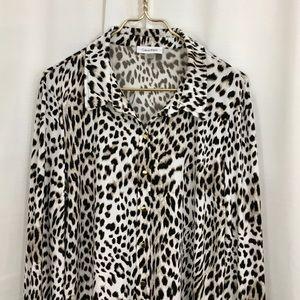 Calvin Klein Snow Leopard Button Down Blouse